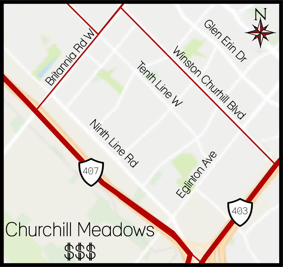 Churchill Meadows Area Map, Churchill Meadows Boundary Map