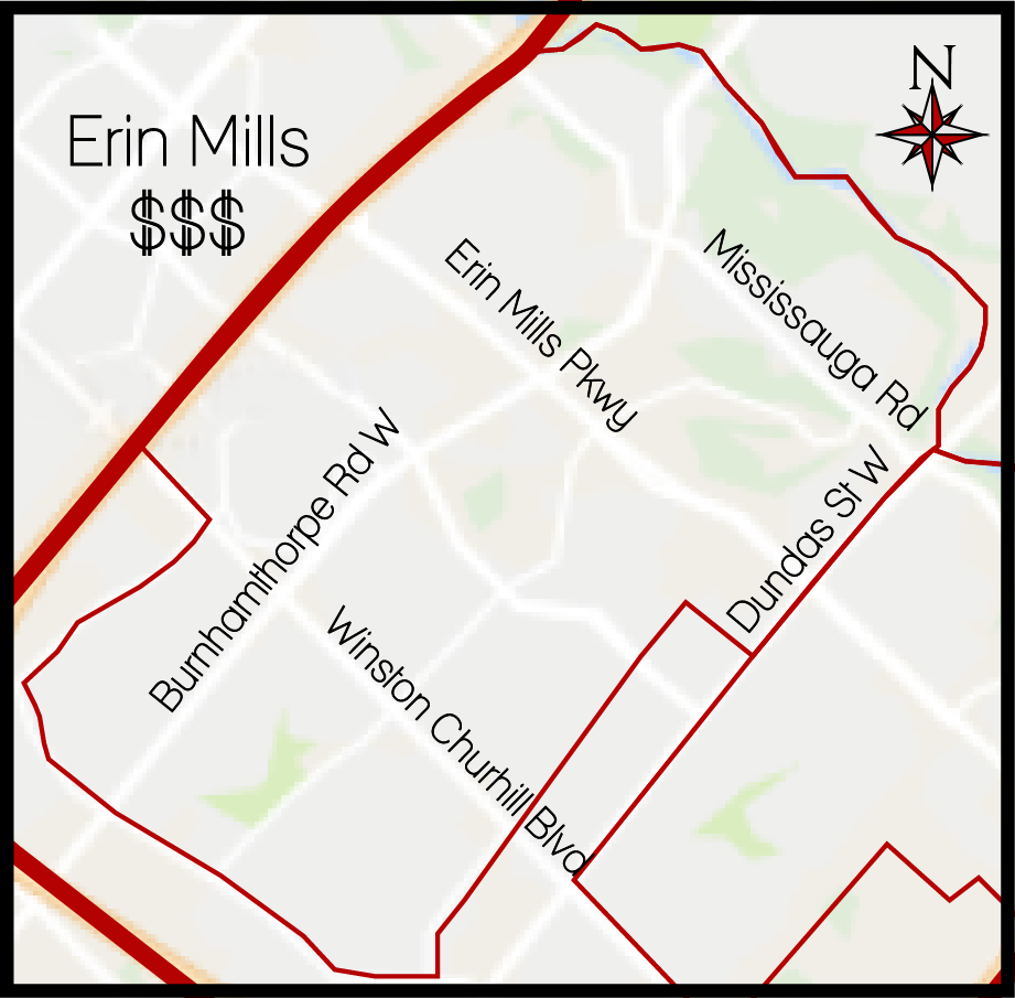 Erin Mills MLS Map, Erin Mills Boundary Map